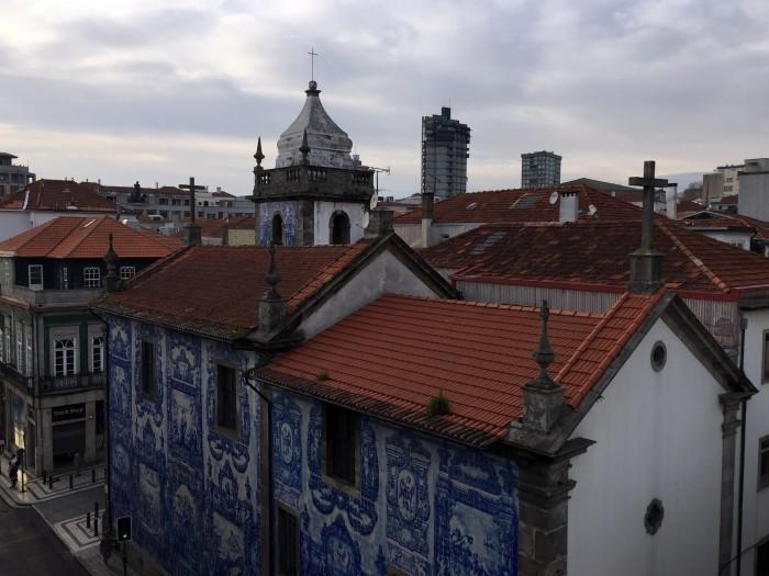 View of Capela das Almas from our hotel room..
